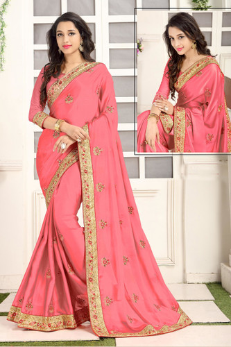 Delightful & Classy Light Pink Colored Crepe Silk Saree