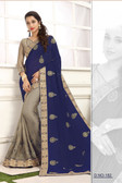 Delightful & Classy Dark Blue & Grey Colored Crepe Silk Saree