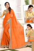 Delightful & Classy Orange Colored Crepe Chiffon Saree