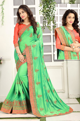 Delightful & Classy Green Colored Crepe Silk Saree