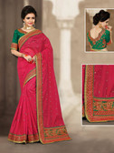 Charming & Vibrant Royal Pink Colored Chanderi Silk Saree