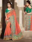 Charming & Vibrant Light Orange Colored Chanderi Silk Saree