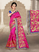 Charming & Vibrant Pink Colored 2 Ton Short Milano Silk Saree
