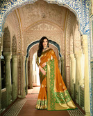 Graceful & Classy Mustard Colored Top Dyed & Weaved Silk Saree