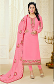 Casual & Colorful Light Pink Color Faux Georgette Suit