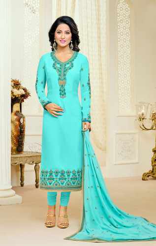 Casual & Colorful Sky Blue Color Faux Georgette Suit