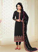 Casual & Colorful Black Color Faux Georgette Suit