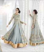 Mesmerizing & Stylish Sky Blue Colored Georgette Heavy Designer Semi Stiched Suit