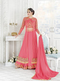 Mesmerizing & Stylish Royal Pink Colored Georgette & Net Heavy Designer Semi Stiched Suit