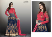 Exquisitely Gorgeous Blue & Peach Colored Faux Georgette Salwar Suit