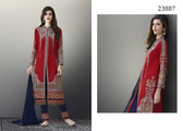 Exquisitely Gorgeous Red Colored Soft Silk Salwar Suit