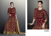 Exquisitely Gorgeous Rust Colored Faux Georgette Salwar Suit