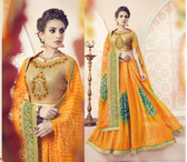 Vibrant & Lovely Orange Colored Pure Georgette Polyester Printed Saree