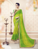 Vibrant & Lovely Light Green & Yellow Colored Pure Georgette Polyester Printed Saree