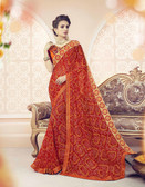 Vibrant & Lovely Red Colored Pure Georgette Polyester Printed Saree