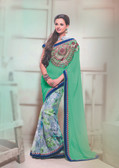 Premium Green & Grey Color Georgette + Georgette Print Saree