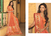 Elegant & Colorful Peach Colored Art Silk Designer Saree