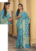 Elegant & Colorful Firozi Colored Art Silk Saree