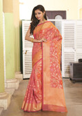 Elegant & Colorful Peach Colored Art Silk Pretty Saree