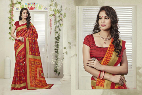 Attractive & Graceful Multi Colored Fancy Art Silk Designer Saree
