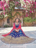Glamorous & Exquisitely Crafted Blue Colored  Heavy Designer Lehenga In Net