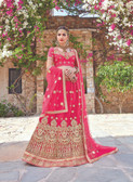Glamorous & Exquisitely Crafted Pink Colored  Heavy Designer Lehenga In Net