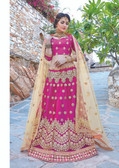 Glamorous & Exquisitely Crafted Pink Colored  Heavy Designer Lehenga In Net Fabric