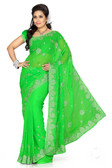 Stylish & Casual Green Colored Faux Chiffon Saree