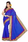 Stylish & Casual Royal Blue Colored Faux Chiffon Saree