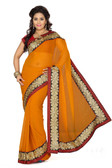 Stylish & Casual Rust Colored Faux Chiffon Saree