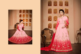 Regally Alluring Pink & Shaded Red Colored Bhagalpuri Silk Fabric Designer Salwar Suit