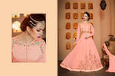 Regally Alluring Light Peach Colored Georgette Fabric Designer Salwar Suit