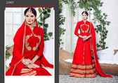 Vibrant & Catchy Red Glace Cotton Lahenga Suit