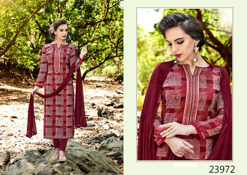 Charming & Trendy Maroon Colored Cambric Cotton Salwar Suit