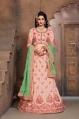 Gorgeous & Vibrant Light Peach Colored Mulberry Silk Fabric Designer Lehenga