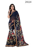 Vibrant & Casual Blue Colored Georgette Silk Saree