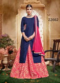 Vibrant & Stylish Blue Colored Taffeta Silk Suit Cum Lehenga