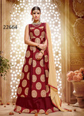 Vibrant & Stylish Maroon Colored Banarasi Jacquard Suit Cum Lehenga