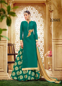 Vibrant & Stylish Green Colored Taffeta Silk Suit Cum Lehenga