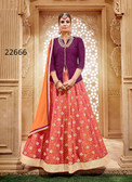 Vibrant & Stylish Magenta Colored Taffeta Silk Suit Cum Lehenga