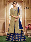 Vibrant & Stylish Beige Colored Taffeta Silk Suit Cum Lehenga