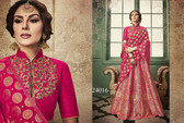 Exquisitely Radiant Fuchsia Pink Colored Banarasi Silk Designer Lehnega