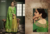 Exquisitely Radiant Lemon Green Colored Banarasi Silk Lehnega