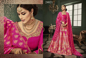 Exquisitely Radiant Fuchsia Pink Colored Banarasi Silk Premium Lehnega