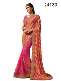 Graceful & Elegant Pink Colored Georgette Designer Saree