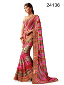 Graceful & Elegant Pink & Grey Colored Georgette Saree