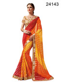 Graceful & Elegant Orange & Red Colored Georgette Saree