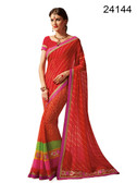 Graceful & Elegant Red Colored Georgette Saree