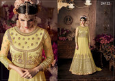 Magnificently Crafted Yellow Colored Heavy Net Designer Semi Stitched Suit