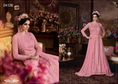 Magnificently Crafted Light Pink Colored Heavy Net Designer Semi Stitched Suit